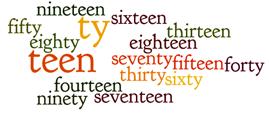 Числа от 11 до 100 на английском с произношением
